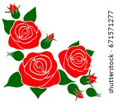silhouette of a rose on a white ... | Shutterstock .eps vector #671571277