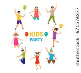 kids party  funny girls and... | Shutterstock .eps vector #671576377