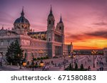 madrid  spain  the cathedral of ... | Shutterstock . vector #671580883