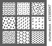 hand drawn ink seamless pattern ... | Shutterstock .eps vector #671585047