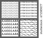 hand drawn ink seamless pattern ... | Shutterstock .eps vector #671585077