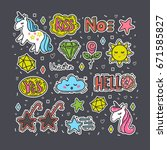 colorful vector set of stickers ... | Shutterstock .eps vector #671585827