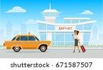 illustration airport   vector... | Shutterstock .eps vector #671587507