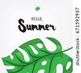 hello  summer. holiday greeting ... | Shutterstock .eps vector #671592937