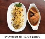 persian barberry rice with... | Shutterstock . vector #671618893