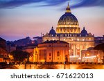 view to bridge and vatican city ... | Shutterstock . vector #671622013