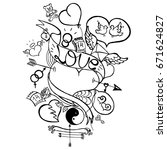 uncolored love doodle  happy... | Shutterstock .eps vector #671624827