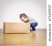 box and child | Shutterstock . vector #671629927