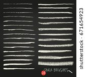 a set of vector brush strokes.... | Shutterstock .eps vector #671654923