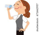 female employee who drinks... | Shutterstock .eps vector #671662957