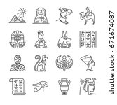 Egypt Line Icon Set. Included...