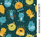 monsters background with cute... | Shutterstock .eps vector #671683873