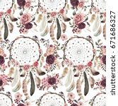 watercolor ethnic boho floral... | Shutterstock . vector #671686327