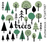 geometric forest set. simple... | Shutterstock .eps vector #671697487