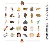 neolithic  prehistoric  hunting ... | Shutterstock .eps vector #671701873