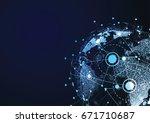 global network connection.... | Shutterstock .eps vector #671710687