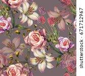 watercolor flowers bouquet on a ...   Shutterstock . vector #671712967