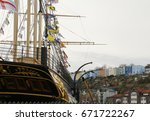 back of brunel's ship ss great... | Shutterstock . vector #671722267