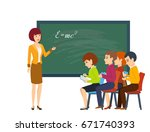 modern teaching and education... | Shutterstock .eps vector #671740393