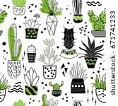 seamless pattern with cactus... | Shutterstock .eps vector #671741233