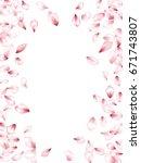 pink flower petal confetti... | Shutterstock .eps vector #671743807