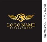 falcon eagle wing template... | Shutterstock .eps vector #671746993