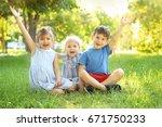 cute little children sitting on ... | Shutterstock . vector #671750233
