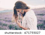 beautiful model walking in... | Shutterstock . vector #671755027