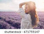 beautiful model walking in... | Shutterstock . vector #671755147