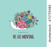 we are moving colorful doodle... | Shutterstock .eps vector #671755483