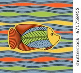 hand drawing   fish. bright... | Shutterstock .eps vector #671758453