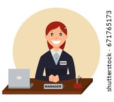 credit manager sits at a table...   Shutterstock .eps vector #671765173