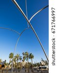 Small photo of Barcelona, Spain - February 8, 2017: 'Ones' sculpture by Andreu Alfaro at port, Barcelona. Catalonia, Spain