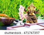 zen garden background with... | Shutterstock . vector #671767357