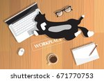 realistic workplace... | Shutterstock .eps vector #671770753