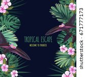 floral square postcard design... | Shutterstock .eps vector #671777173