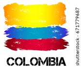 flag of colombia from brush... | Shutterstock .eps vector #671779687
