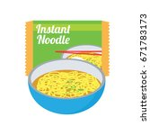 instant noodles soup in a blue... | Shutterstock .eps vector #671783173