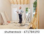senior as architect and master... | Shutterstock . vector #671784193