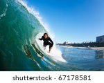 surfer on blue ocean wave | Shutterstock . vector #67178581