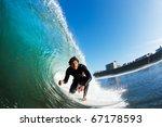 surfer on blue ocean wave   Shutterstock . vector #67178593