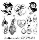 tropical exotic sea vector set. ... | Shutterstock .eps vector #671794693