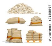 Different Sacks Of White Rice....