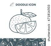 orange doodle | Shutterstock .eps vector #671816503