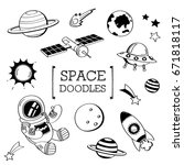 hand drawing styles of space...   Shutterstock .eps vector #671818117