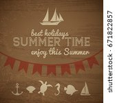 summer time vintage background... | Shutterstock .eps vector #671822857