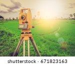 land surveyors   soft focus...   Shutterstock . vector #671823163