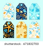 cute vintage tags with hand... | Shutterstock .eps vector #671832703