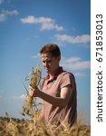 agronomist on barley  cereal...   Shutterstock . vector #671853013