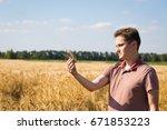 agronomist on barley  cereal...   Shutterstock . vector #671853223